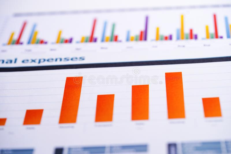 Charts Graphs spreadsheet paper. Financial development, Banking Account, Statistics, Investment Analytic research data economy,. Stock exchange trading royalty free stock images