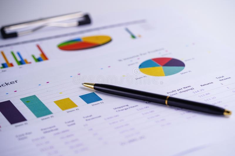 Charts Graphs spreadsheet paper. Financial development, Banking Account, Statistics, Investment Analytic research data economy, St. Ock exchange trading stock image