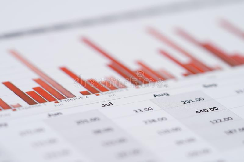 Charts Graphs spreadsheet paper. royalty free stock images