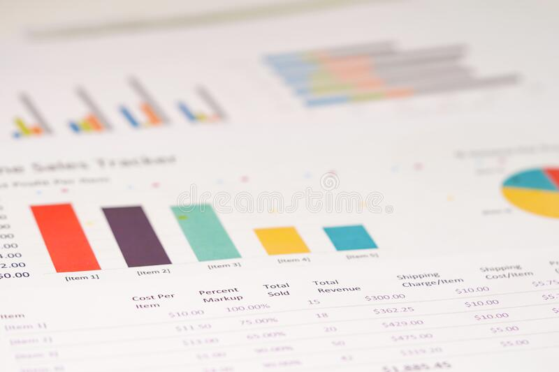 Charts Graphs spreadsheet paper. royalty free stock photography