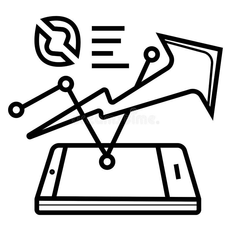 Charts on PDA icon vector illustration