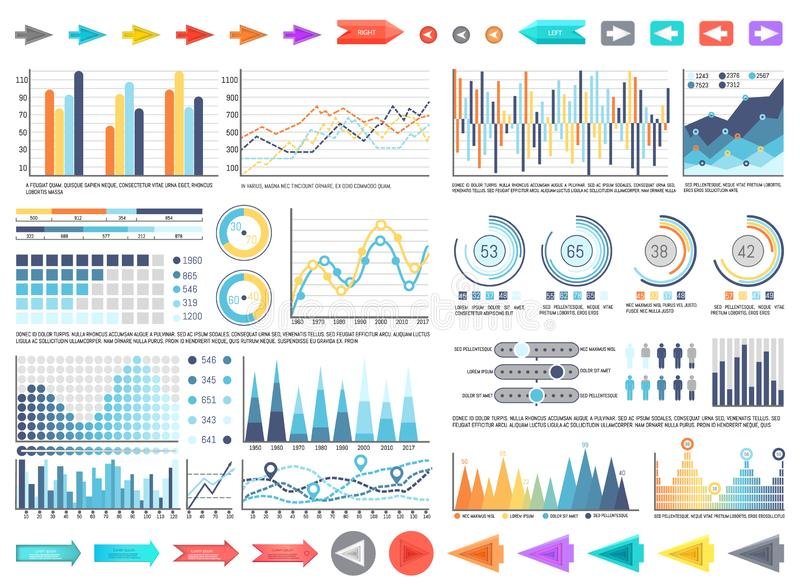 Charts and Pie Diagrams with Numbers Information. Vector. Pointers and schemes data, flowcharts with timelines analysis and results yearly comparison vector illustration