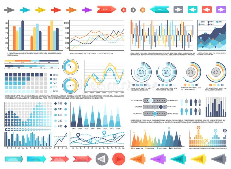 Charts and Pie Diagrams with Numbers Information stock illustration