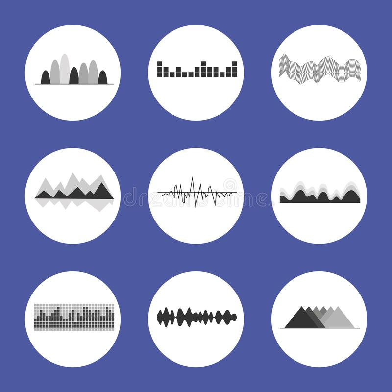 Charts Set Placed in Circles Vector Illustration. Charts set placed in circles of white color frame backdrop, visualization of statistics on vector illustration stock illustration