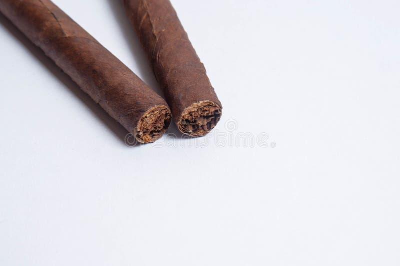 Charutos cubanos no fundo branco foto de stock