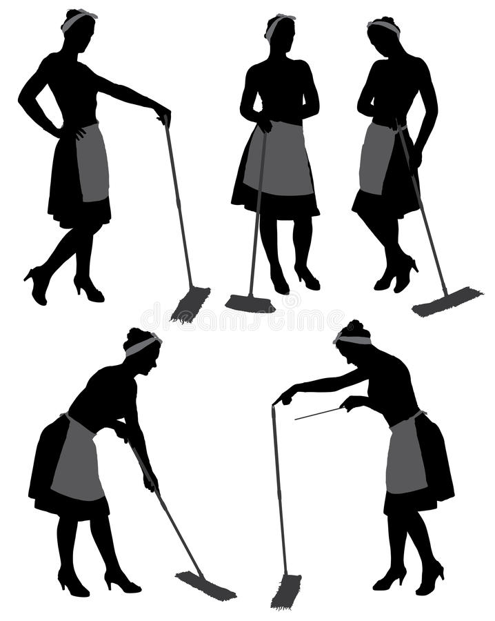 Charwoman Silhouette stock images
