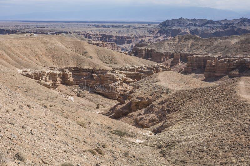 Charyn峡谷和城堡谷,国家公园, Kazakhst 库存照片