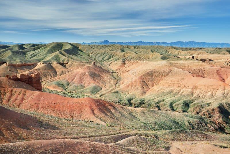 Charyn kanjon i öken av Kasakhstan royaltyfri bild