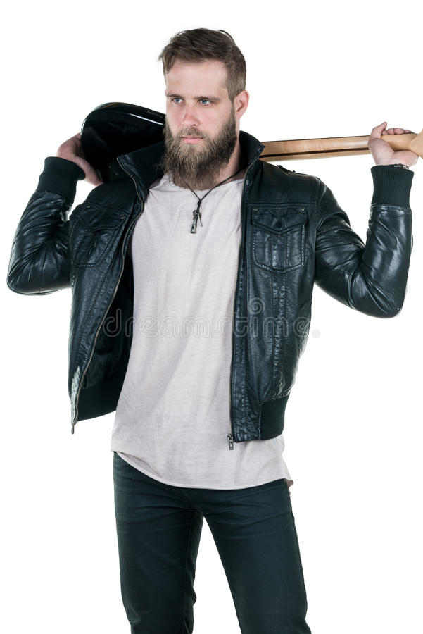 Charyzmatyczny mężczyzna z brodą trzyma gitarę elektryczną na białym odosobnionym tle, Vertical rama fotografia stock