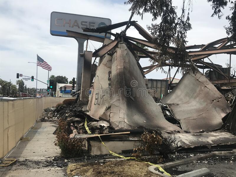 Chase Bank burned by after protest march in La Mesa, California stock photo