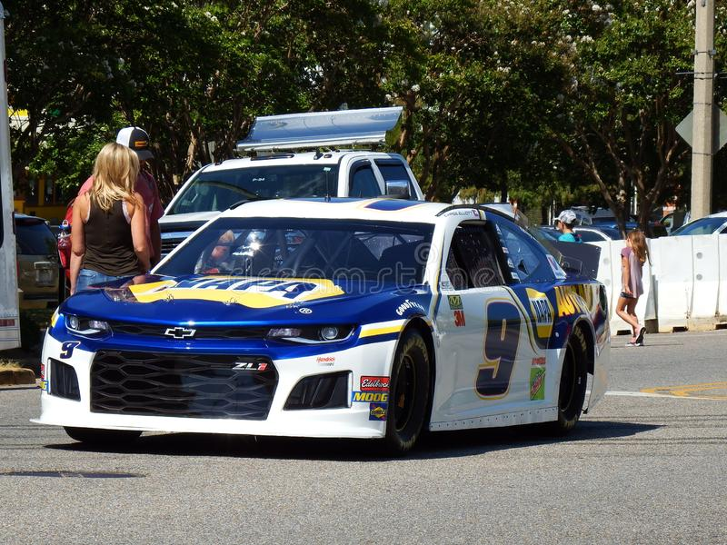 Chase Elliott Race Car Outside Buckmasters Archery Competition 8-17-19 in Montgomery Performing Arts Center in Alabama stock foto