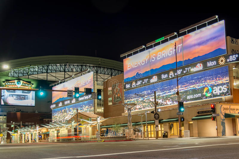 Chase Field at night in Phoenix, AZ. Chase Field at night in Phoenix, Arizona stock photos