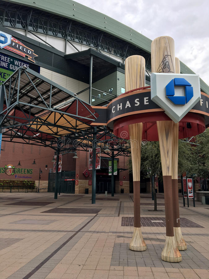 Chase Field, Phoenix, AZ. PHOENIX, AZ, USA - AUGUST 2, 2017: Arizona Diamondbacks home stadium in Phoenix downtown, Chase Field stock image