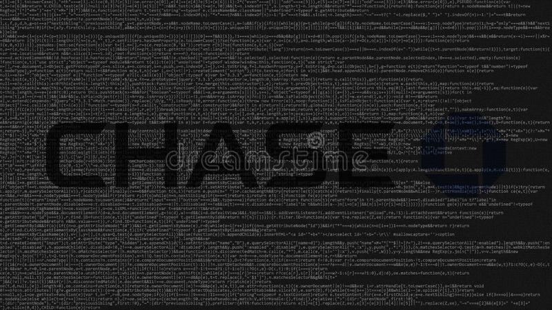 Download JPMorgan Chase Bank Logo Made Of Source Code On Computer Screen.  Editorial 3D Rendering
