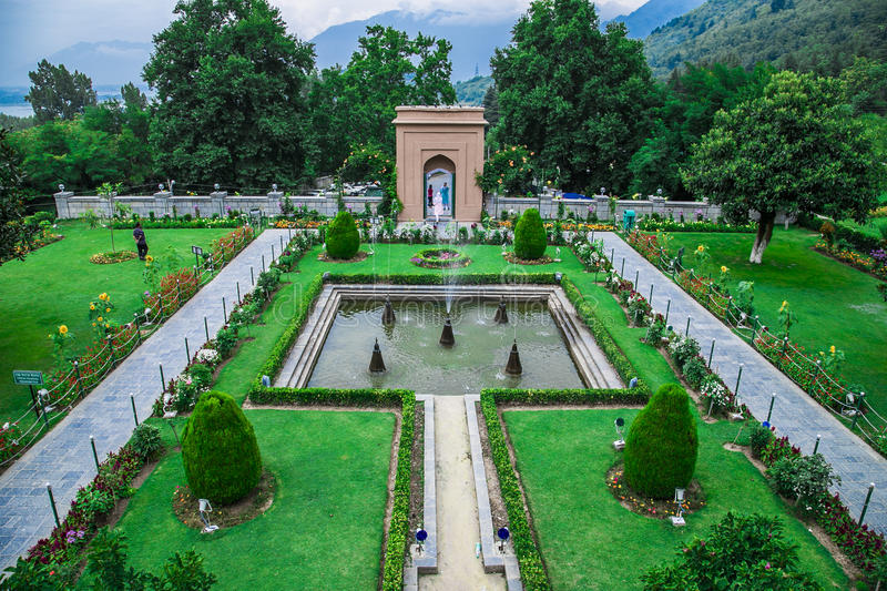 Chashme Shahi Spring Water Garden Srinagar India. Mughal Era majestic garden called Chashme Shahi in Srinagar Kashmir India which has running spring water and is royalty free stock images