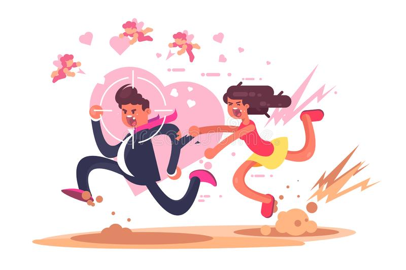 Chasing after love. Vector illustration. Mad woman running after man in hope to find amour flat style design. Gun aim pointed at male showing inevitability of royalty free illustration