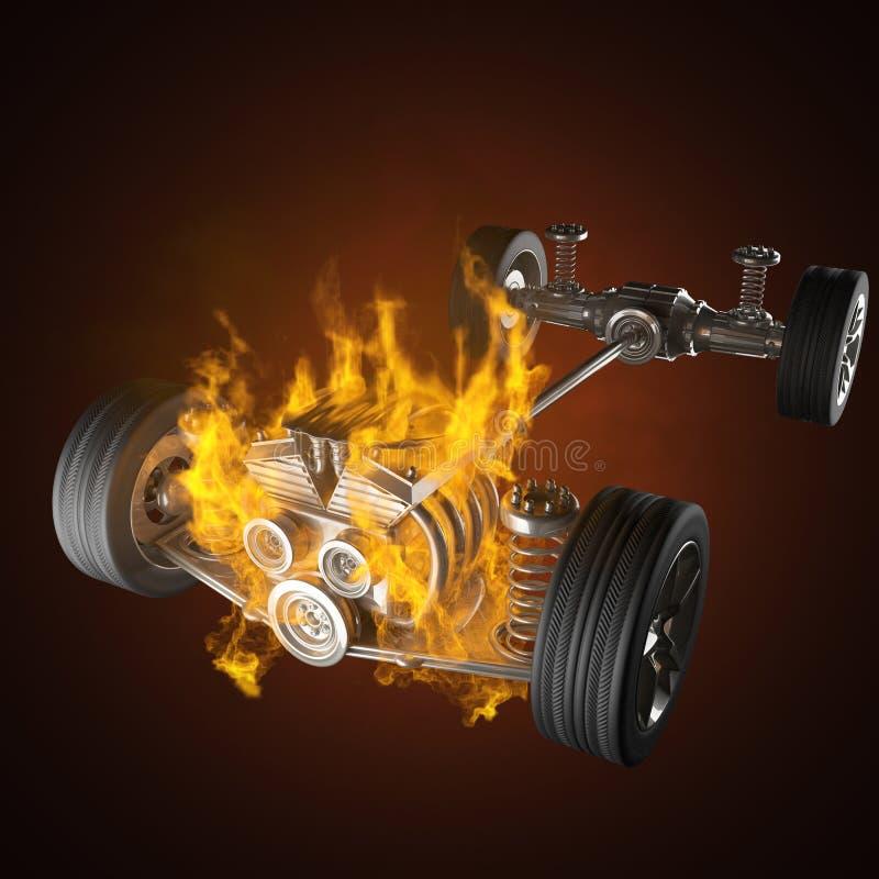 Chasis ardiente del coche con el motor y las ruedas ilustración del vector