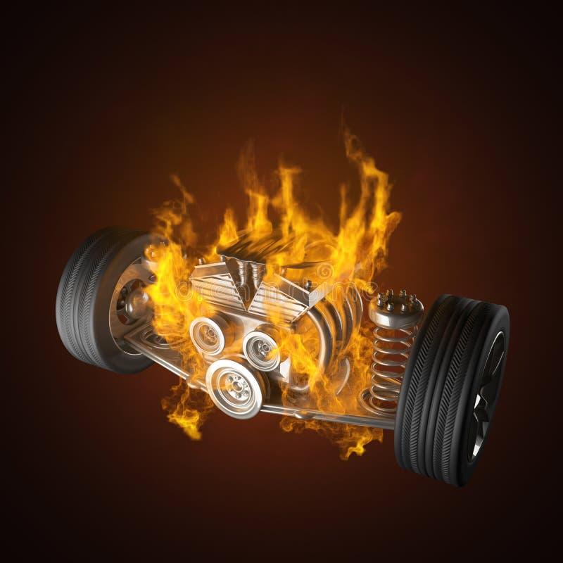 Chasis ardiente del coche con el motor y las ruedas libre illustration