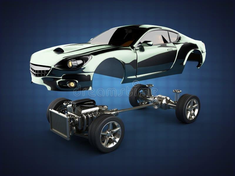 Chasis del coche con el motor de sportcar brandless de lujo ilustración del vector