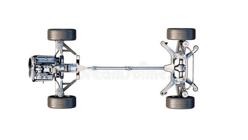 Chasis del coche con el motor en el aislante blanco representación 3d stock de ilustración