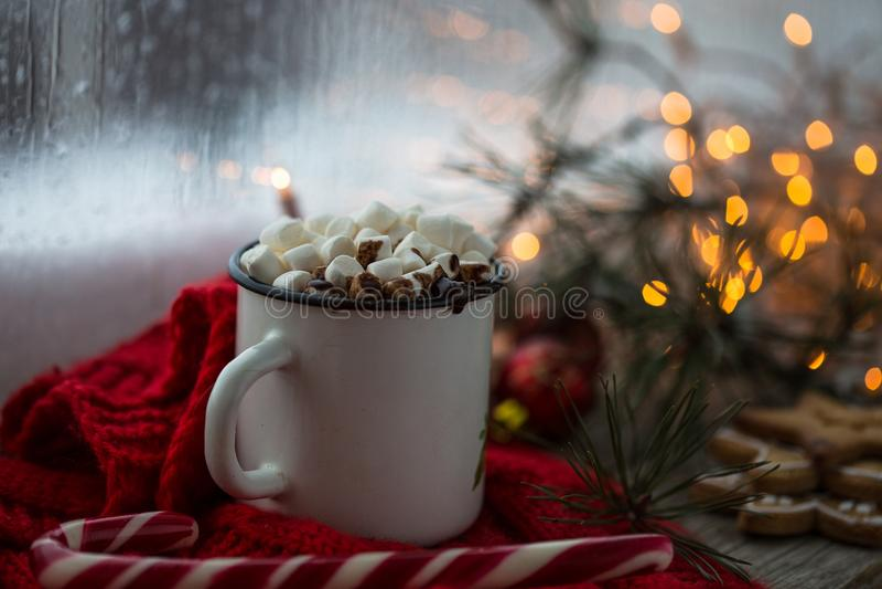 Chaskka branco do Natal com uma bebida quente do Natal pela janela fotografia de stock royalty free
