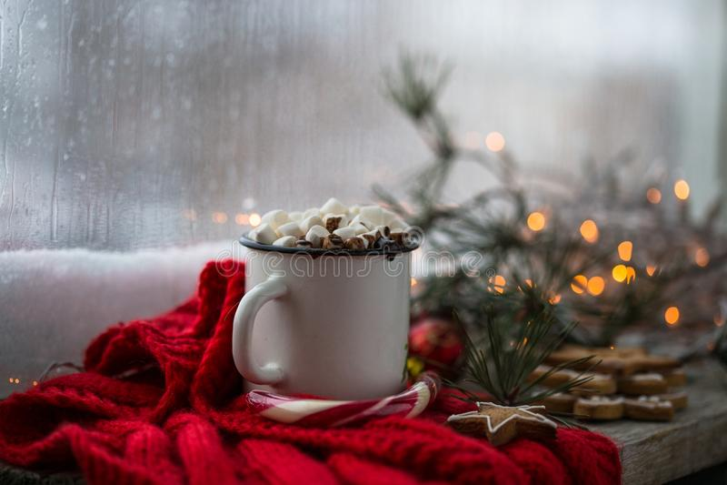 Chaskka branco do Natal com uma bebida quente do Natal pela janela fotos de stock royalty free