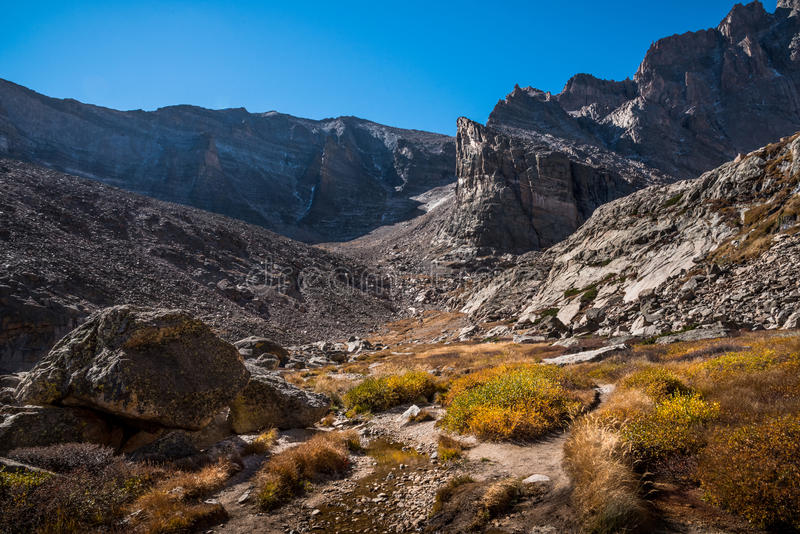 Chasm Lake Trail, Rocky Mountain National Park, Colorado. Chasm Lake Trail in Rocky Mountain National Park, Colorado in autumn, looking toward the high peak royalty free stock images