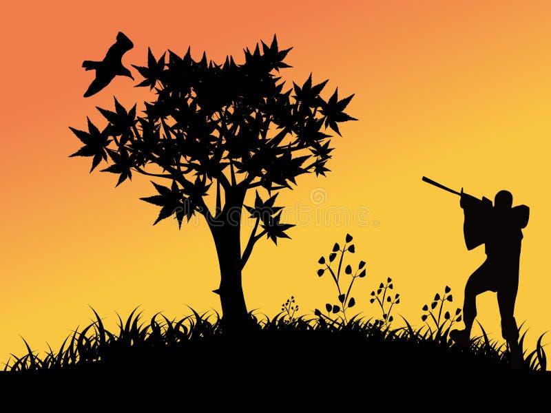 Chasse d'oiseau illustration libre de droits