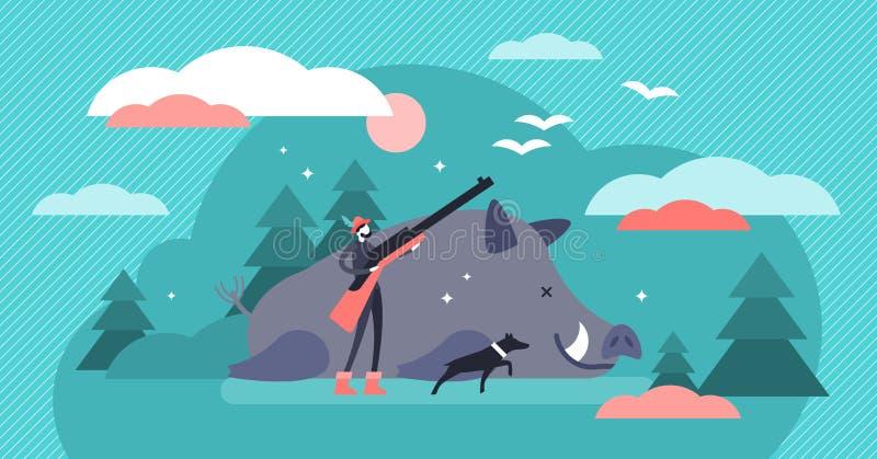 Chasse de l'illustration de vecteur Concept de tir animal minuscule plat de personnes d'arme à feu illustration de vecteur