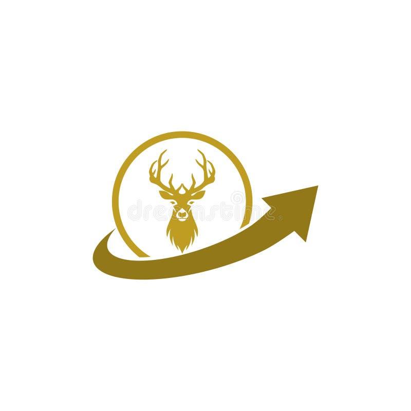 Chasse de l'inspiration de conception de logo, conception principale de logo de cerfs communs illustration stock