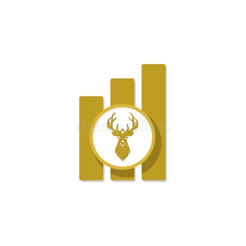 Chasse de l'inspiration de conception de logo, conception principale de logo de cerfs communs illustration de vecteur