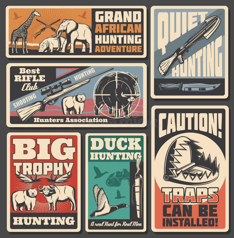 Chasse des affiches, des munitions et des animaux de sport illustration libre de droits