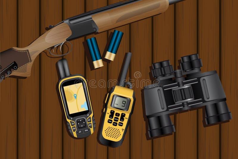 Chasse du fusil, cartouches, navigateur, talkie - walkie illustration stock