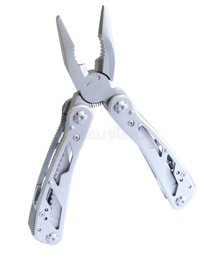 Chasse multi en acier de camping de couteau de ciseaux de pinces d'outil photographie stock