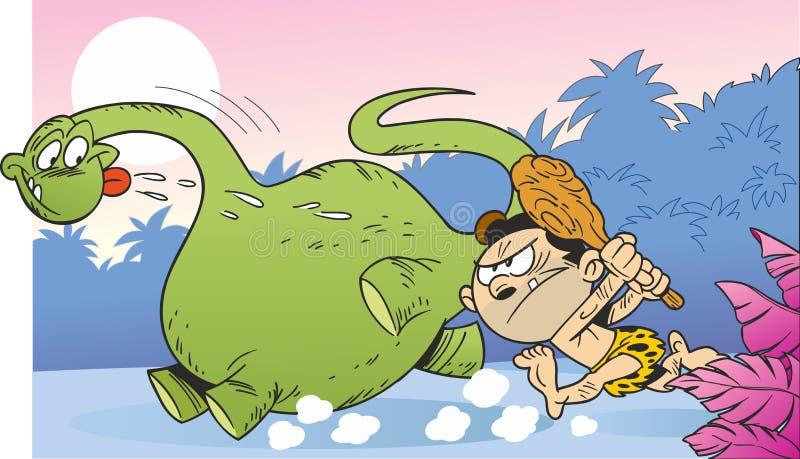 Chasse pour le dinosaure illustration de vecteur
