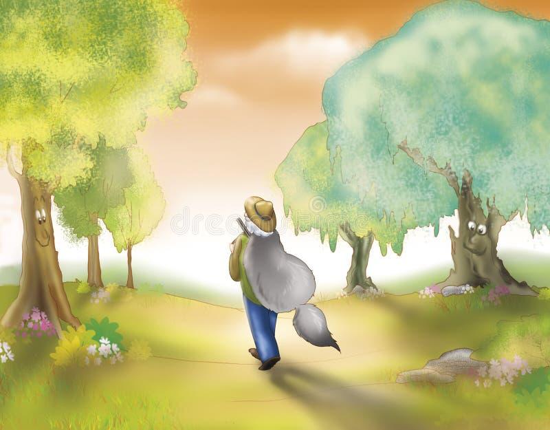 Chasseur Avec La Fourrure De Loup Photo libre de droits