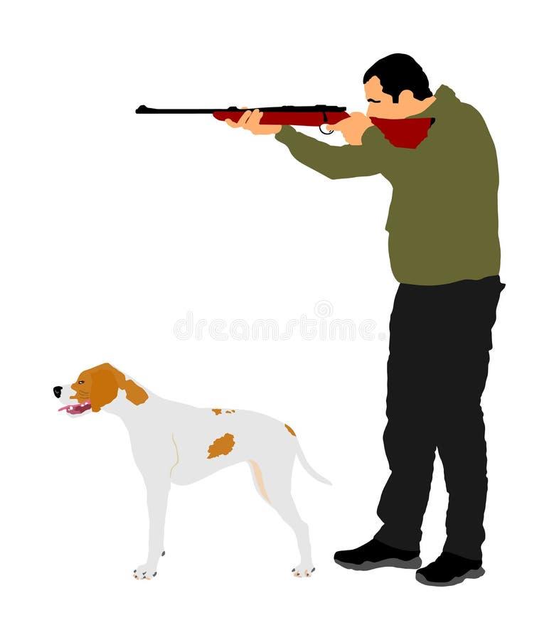 Chasseur avec le chien visant avec son illustration de vecteur de fusil E r Chasse d'homme d'isolement illustration libre de droits