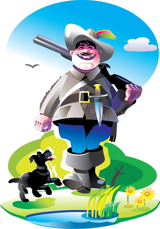 Chasseur avec un fusil et un crabot illustration libre de droits