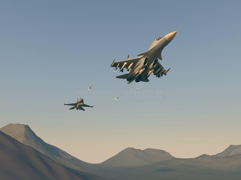 Chasseur d'attaque classique turc sur le bombardier russe Attaque des avions turcs dans l'avion russe Illustration de trame Graph illustration libre de droits
