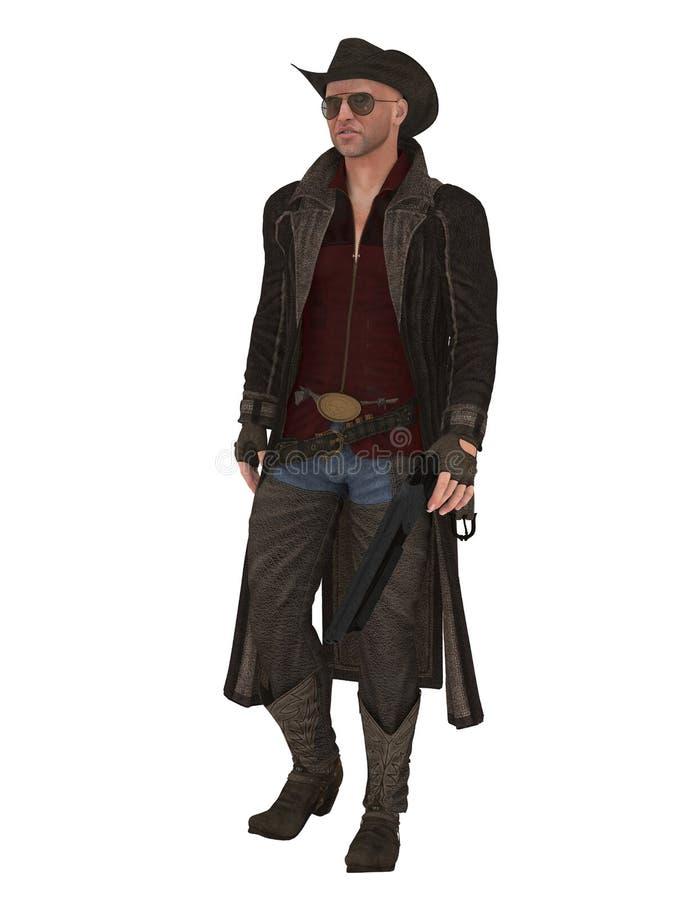 Chasseur d'imagination avec le manteau et le fusil de chasse illustration stock