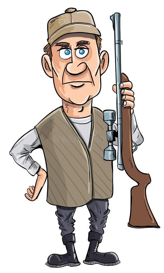 Chasseur de dessin animé retenant son canon illustration stock