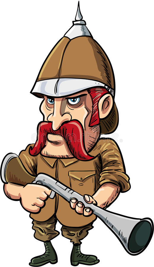 Chasseur de grand jeu de bande dessinée avec le casque de moelle illustration stock