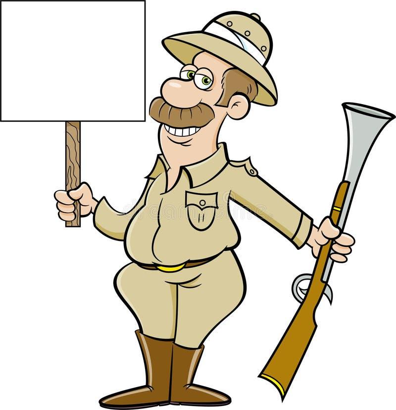 Chasseur de gros gibier tenant un gros fusil et un panneau illustration de vecteur