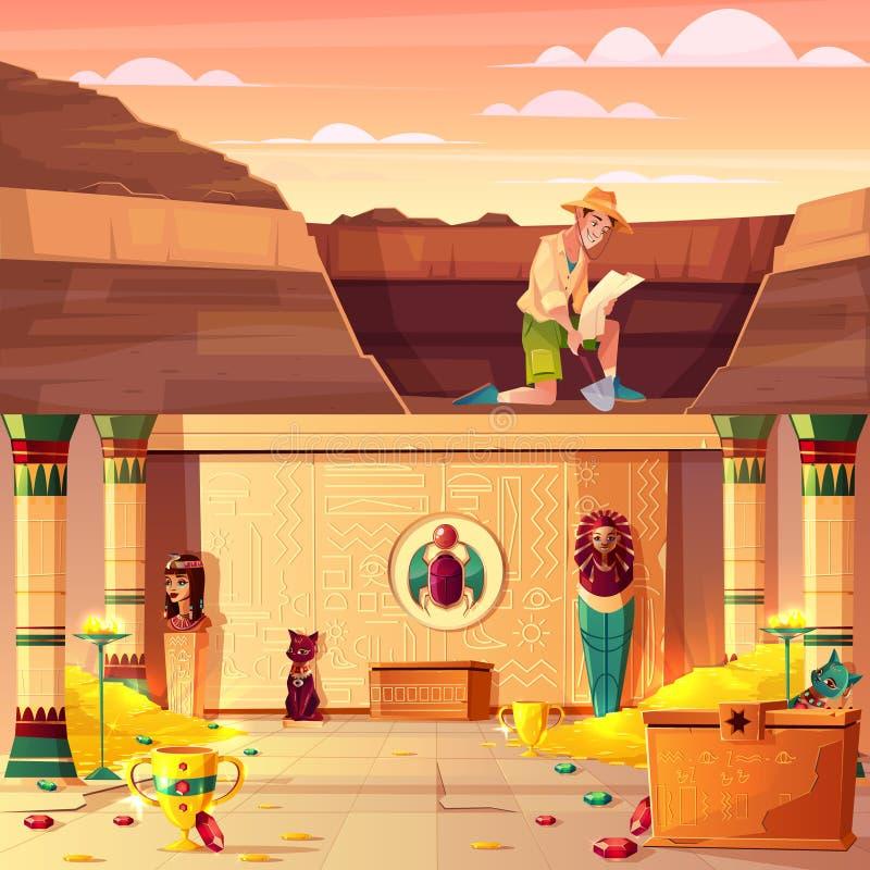 Chasseur de trésor recherchant le vecteur de trésor de pharaon illustration libre de droits