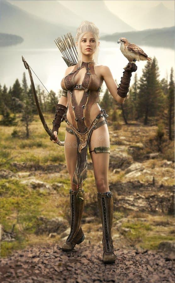 Chasseur féminin d'elfe d'imagination examinant les terres avec son faucon illustration stock