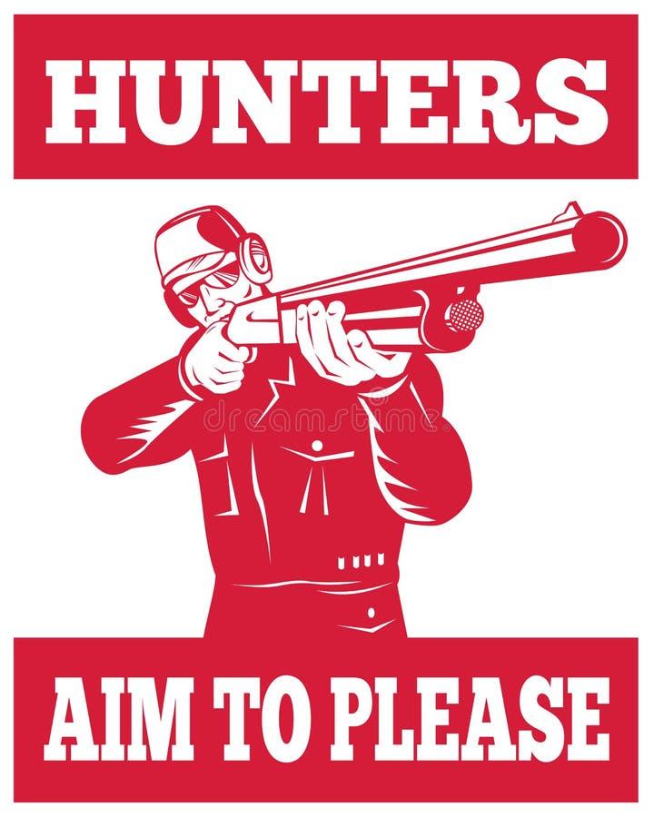 Chasseur orientant le fusil de fusil de chasse illustration de vecteur