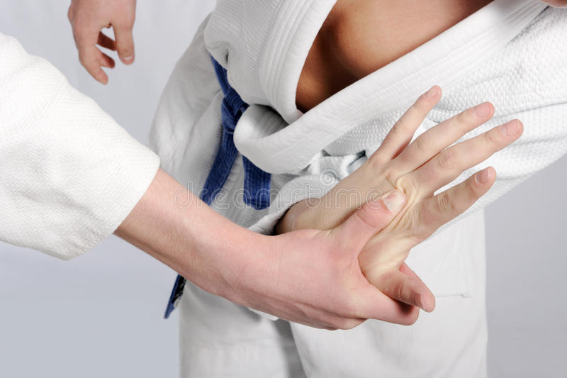 Chasseurs de judo luttant pour la suprématie photos libres de droits