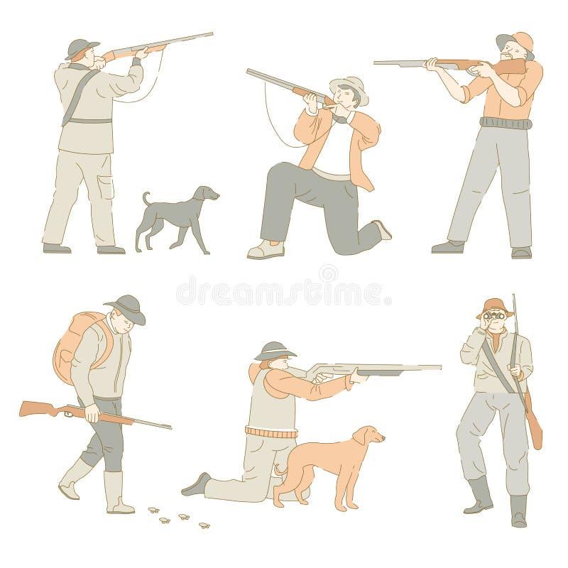 Chasseurs jugeant des armes à feu et des armes chassant avec des chiens illustration de vecteur