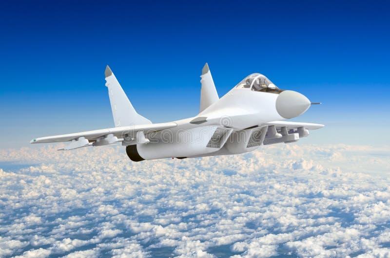 Chasseurs militaires à la grande vitesse, volant haut dans le ciel bleu-foncé illustration de vecteur