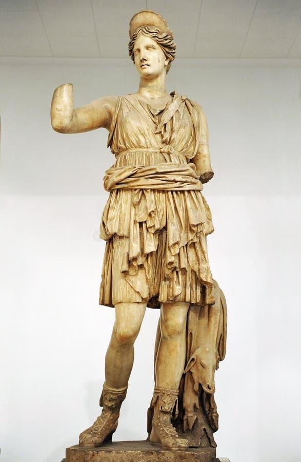 Chasseuse Diana, Artemis, sculpture de marbre image stock